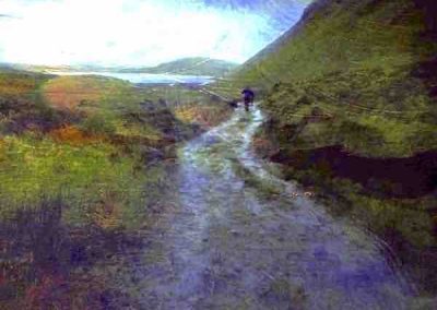 Road with man and dog